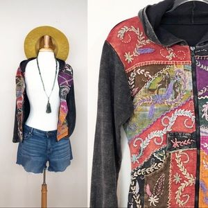Vintage Boho Patchwork Sweatshirt • M